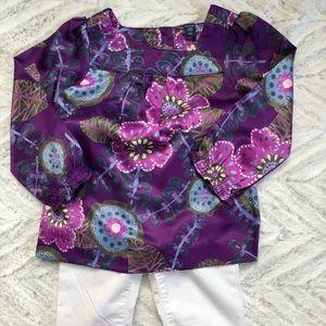 GAP Purple Print Silken Blouse Sz 3T